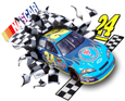 3-D NASCAR bursts from a printed window cling decal