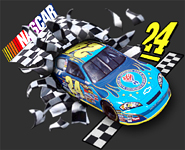 3-D NASCAR bursting from checkered flag printed on a static cling decal