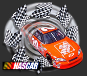 3-D Home Depot NASCAR bursting from a static cling decal