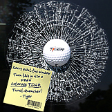 Shatter golf window cling with custom imprint and coupon