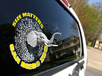 Shatter window cling example featuring an elephant
